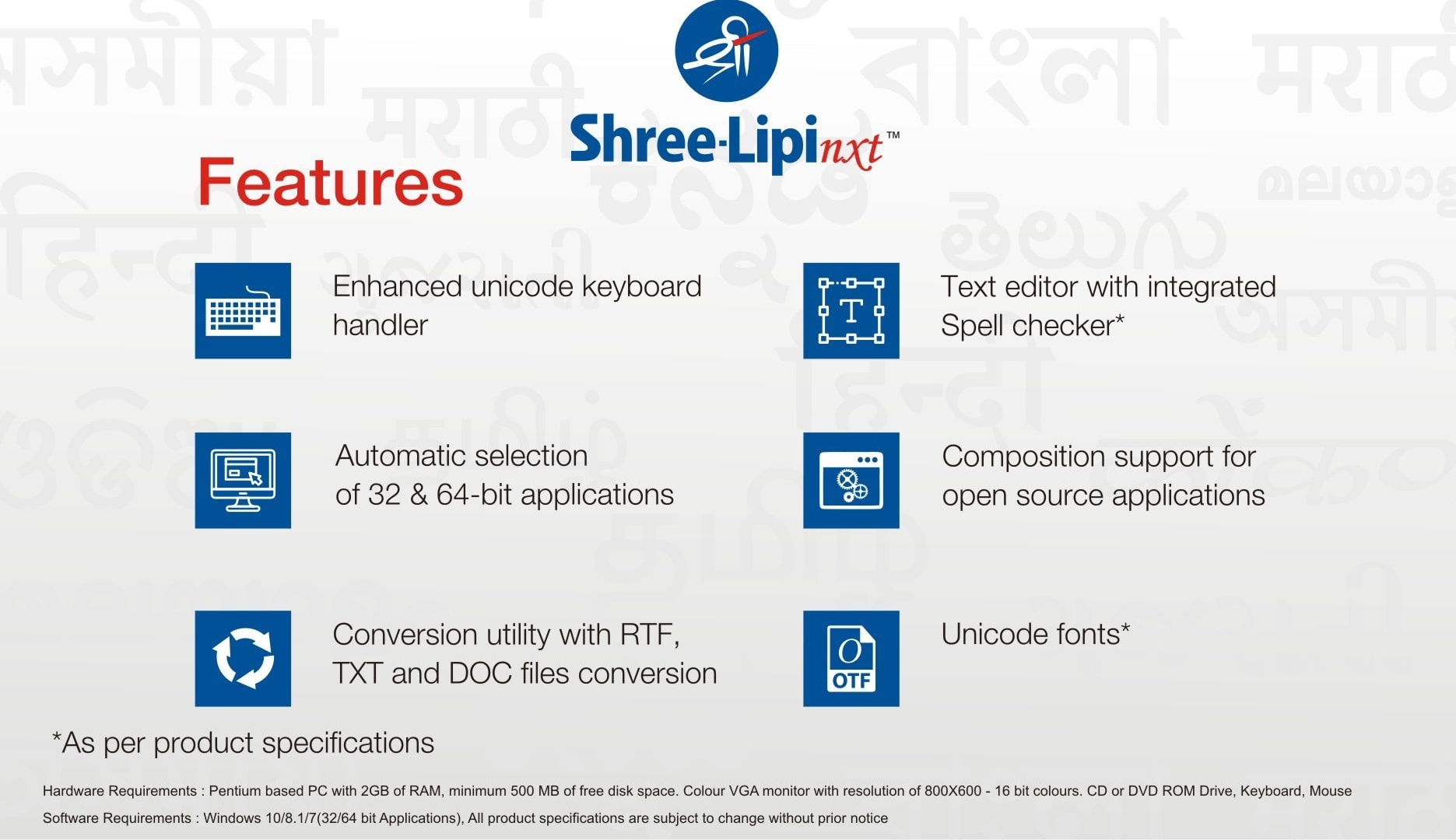 Main Features Of Shree-Lipi